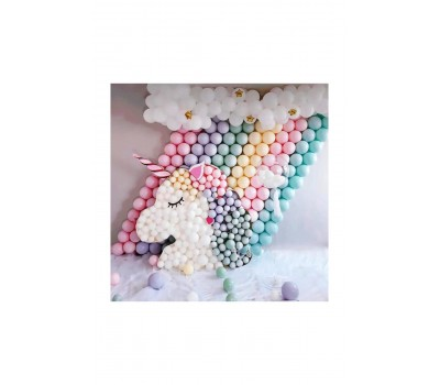 100 Adet Makaron Balon + 5 Mt. Balon Zinciri + Balon Pompası, Karışık Soft Renk Pastel Balon