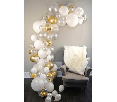 Altın-Beyaz-Şeffaf Renkler Dekorasyon Balon Zinciri 62 Parça