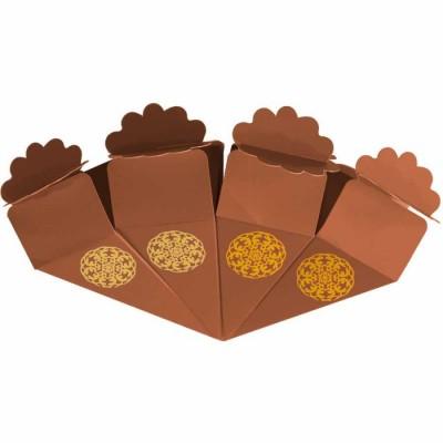 Altın Yaldız Baskılı Kahverengi Şeker Külahı 24'lü
