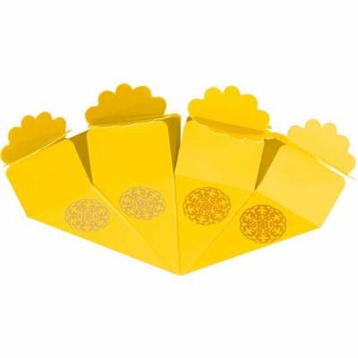 Altın Yaldız Baskılı Sarı Şeker Külahı 24'lü