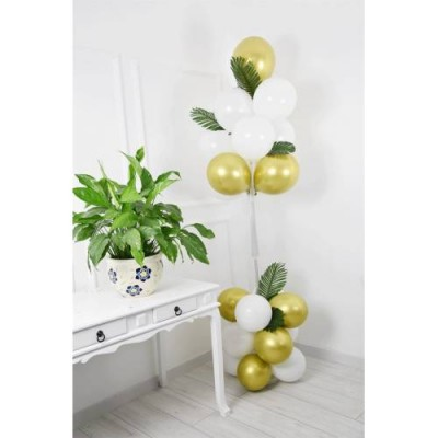 Balon Standı 11 Li Balon Demeti Gold Beyaz Yaprak