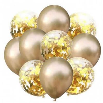 Gold Konfetili Balon Gold Krom Balon Seti 10 Adet