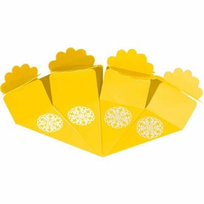 Gümüş Yaldız Baskılı Sarı Şeker Külahı 24'lü