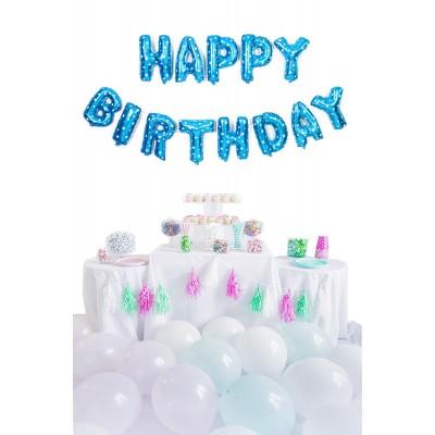 Happy Birthday Mavi Harf Folyo Balon Set 35cm