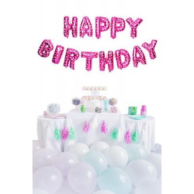 Happy Birthday Pembe Harf Folyo Balon Set 35 cm