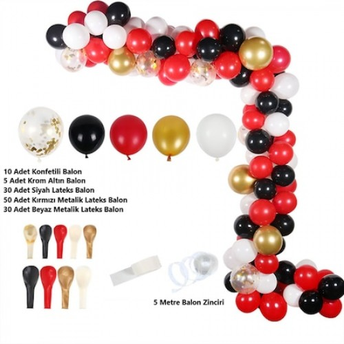 Kırmızı Kombin Balon Zinciri Seti