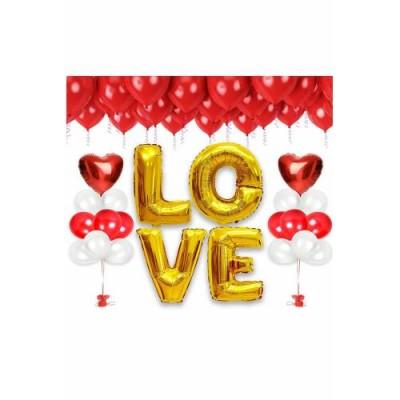Kırmızı Beyaz Love Folyo Balon Set (37 Parça)