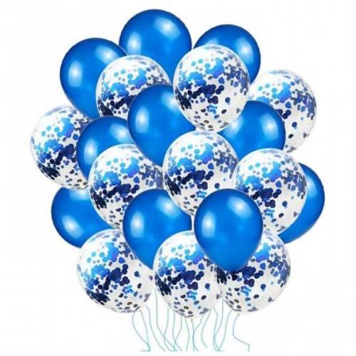 Mavi Konfetili Balon Seti 20 Adet