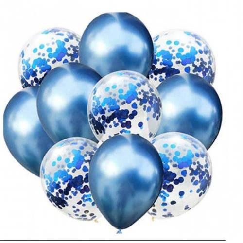 Mavi Konfetili Krom Parlak Balon Seti 10Adet
