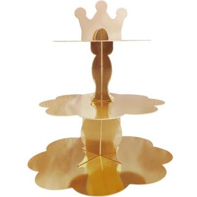 Metalik Altın Cupcake Standı