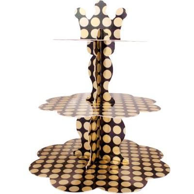 Metalik Altın Puantiyeli Cupcake Standı