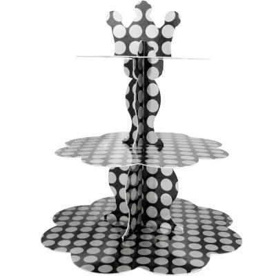 Metalik Gümüş Puantiyeli Cupcake Standı