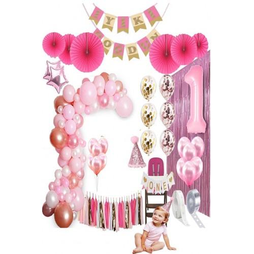 Pembe 1 Yaş Doğum Günü Parti Seti