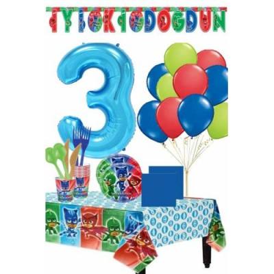 Pija Maskeliler 3 Yaş Doğum Günü Parti Seti