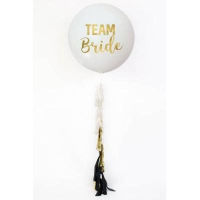 Team Bride Bekarlığa Veda Beyaz Balon Püsküllü